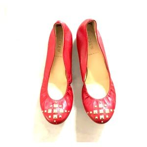 *J.Crew* Red Leather Ballet Flats 😍